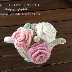 ROSE tea cosy, 100% Australian wool, fits most 4-6 cup teapots, ready to ship