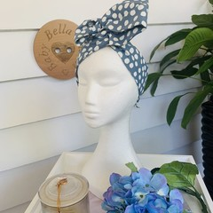 Wire Headband - Blue with White Spots