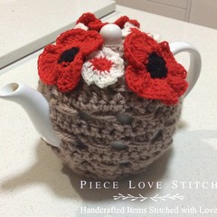 POPPY tea cosy, fits most 4-6 cup tea pots,  100% wool, ready to ship
