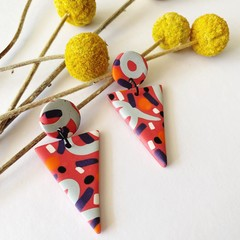 Raspberry Beret- Large Triangle Dangles