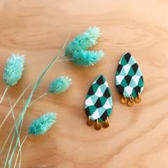 Teardrop Stud Earrings in Jade Carnival with Brass Disks