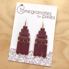 Deco Drops in Pinot, Statement Hook Earrings