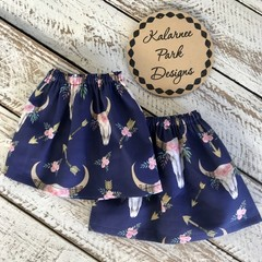 "Ladies sock protectors/ Boot Covers. ""Floral Skull"" on Navy BG"