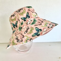 Girls summer hat in pretty butterfly fabric