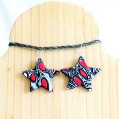Star shaped earrings using the Mokume-gane technique.