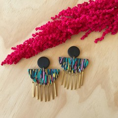 Hera Statement Earrings in Happy Daze with Brass Drops