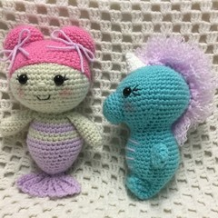 Mermaid & Seahorse: READY TO POST, Crochet Toy, Girl Gift
