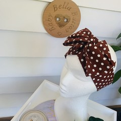 Wire Headband - Brown with White Spots