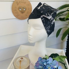 Wire Headband - Black with Cream Flowers