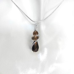 Smoky Quartz beads pendant, Sterling silver wire wrapped
