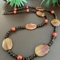 Orange Agate & Carnelian Wooden Beaded Necklace