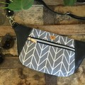 Hip/waist/bum Bag - Grey & White Geo/Black Faux Leather