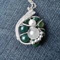 Bloodstone pendant, Tourmalinated Quartz,  Sterling silver