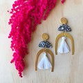 Adella Statement Earrings in Midnight Blooms with Brass and Tassel Detail.