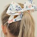 White Linen Bow Ear Saver for Ear Loop Face Masks