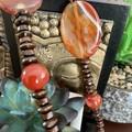 Orange Agate & Carnelian Wooden Beaded Necklace
