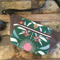 Hip/waist/bum Bag - Green Australian Floral /Beige Faux Leather