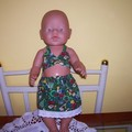 Baby Born doll Christmas skirt and bikini set