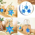 Christmas Tree Snowflake Ornament Tag Hanging Decoration Teal Blue Set of 3-6