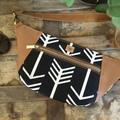 Hip/waist/bum Bag - Black & White Arrows/Tan Faux Leather