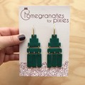 Deco Drops in Forrest Green, Statement Hook Earrings