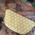 Hip/waist/bum Bag - Lime Green & White/Tan Faux Leather