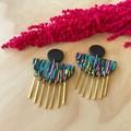 Hera Statement Earrings in Happy Daze with Brass Drops
