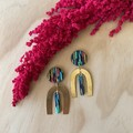 Ella Earrings in Happy Daze with Large Brass Arch