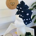 Wire Headband - Navy with White Spots