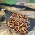 Hip/waist/bum Bag - Leopard Print/Black Faux Leather