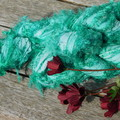 ~*~  Recycled Silk Ribbon from India approx 100g Skein Green Ireland Frizz ~*~