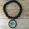 Black Agate Stone Bracelet with your name