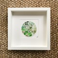 Green sea glass & sea pottery frame