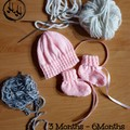 Baby set Hand Knit - Baby's set in Pink or Blue - Baby set of Bonnet & Booties