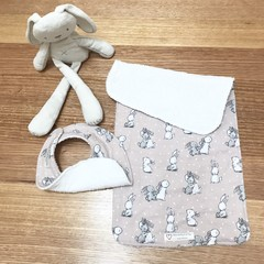 Burp cloth & bib set in rabbit bunny print