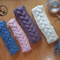 Adult Ladies Hand Knit Chunky Headband - Hand Made -   100% Acrylic - Warm