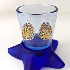 Fine silver and gold teardrop shape earrings, fine silver with 24k gold accen