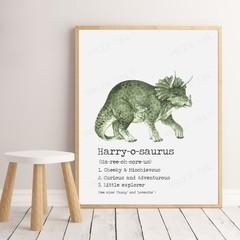 "DINOSAUR (Triceratops) Dictionary Print  8x10"""