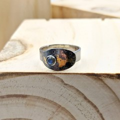 silver and gold labradorite ring, size V