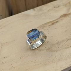 boulder opal sterling silver ring, size U