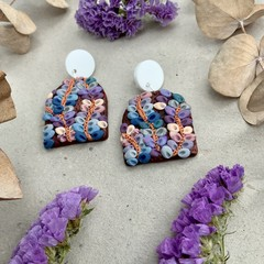 Polymer clay jewellery- statement earrings Native Vines