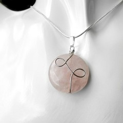 Rose Quartz round pendant, pink gemstone necklace, Sterling wire wrapped