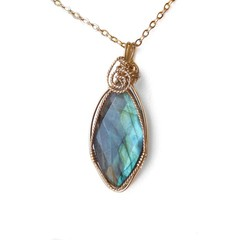 Faceted Labradorite pendant, teardrop 14k gold filled wire wrapped