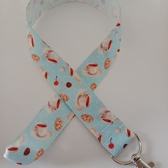 Light blue coffee cup and biscuit print lanyard / ID holder / badge holder