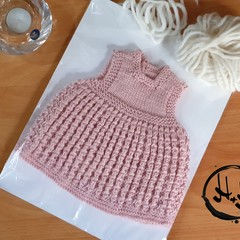 Baby Dress Hand Knit - Dress in Rose Pink  for 0-3 months Preemie Babies Newborn