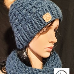 Dragør Super Chunky Beanie & Snood/ Cowl Set Hand Knit - Women's Beanies, Girls