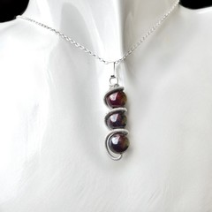 Garnet pendant, Sterling silver wire wrapped pendant