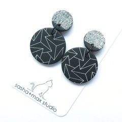 ZigZag and Texture Statement Earrings - round