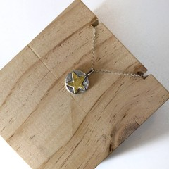 star pendant, sterling silver, fine silver and gold