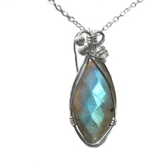 Faceted Labradorite pendant, blue teardrop Sterling silver wire wrapped